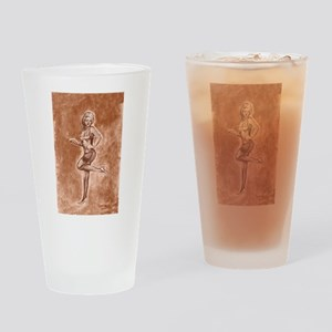 Pinup girl stockings and stilettos Drinking Glass