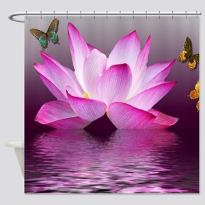 Lotus Flower with Butterfly Shower Curtain