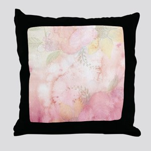 Watercolor Pink Floral Background Throw Pillow