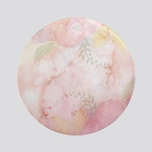 Watercolor Pink Floral Background Round Ornament
