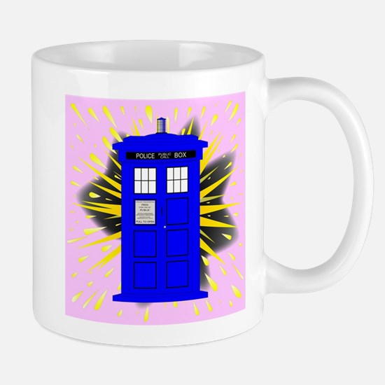 British Police Box With Abstract Explosion Mugs