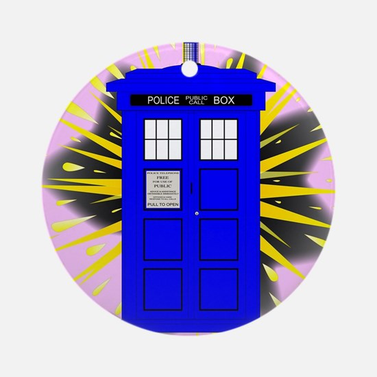 British Police Box With Abstract Ex Round Ornament