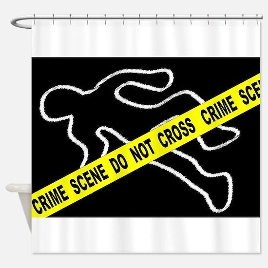 Crime Scene Chalk Mark Shower Curtain