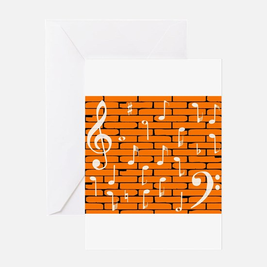 Music Wall Background Greeting Cards