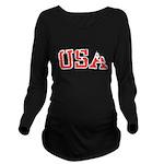 USA Long Sleeve Maternity T-Shirt
