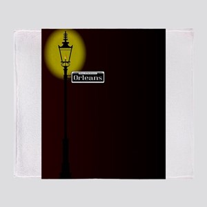 Rue D'Orleans Sign With Lamp Throw Blanket