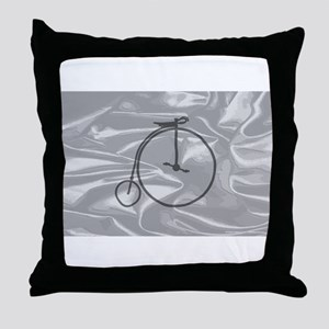 Penny Farthing On A Silk Flag Throw Pillow