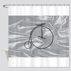 Penny Farthing On A Silk Flag Shower Curtain