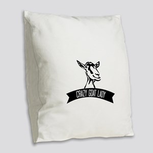 Crazy Goat Lady Burlap Throw Pillow