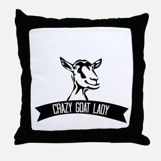 Crazy Goat Lady Throw Pillow