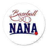Baseball nana Round Car Magnets