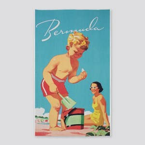 Bermuda Vintage Travel Poster Area Rug