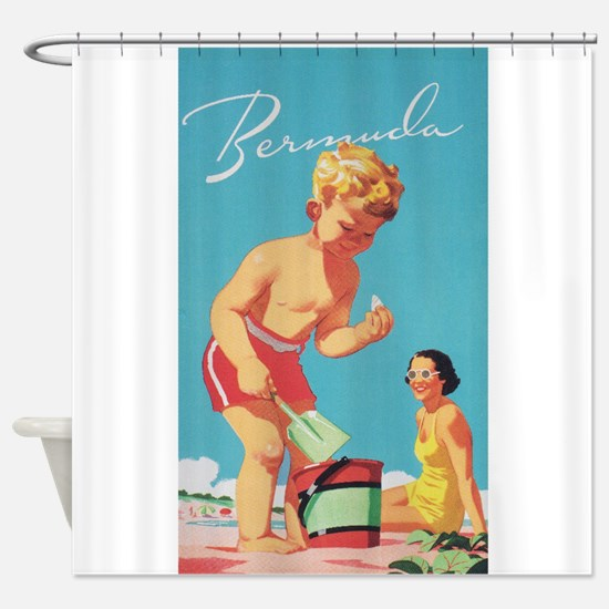 Bermuda Vintage Travel Poster Shower Curtain