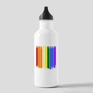 Amsterdam Gay Pride Rainbow Cityscape Water Bottle