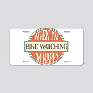 happy bird watcher Aluminum License Plate