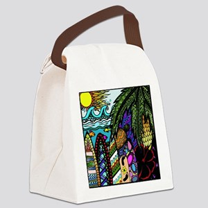Hawaiian Ink- Colour Canvas Lunch Bag
