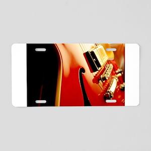 Jazz Guitar Closeup Aluminum License Plate