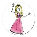 Pb Dancing Girl Round Car Magnet