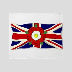 Union Jack With English Rose Throw Blanket