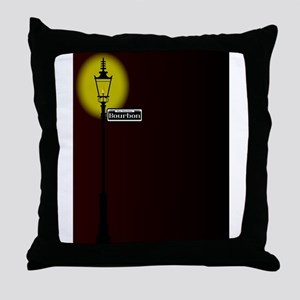 Rue Bourbon Street Sign With Lamp Throw Pillow