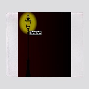 Rue Bourbon Street Sign With Lamp Throw Blanket