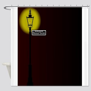 Rue Bourbon Street Sign With Lamp Shower Curtain