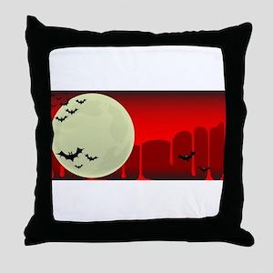 Vampire Bats Background Throw Pillow