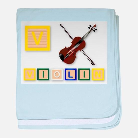 V Is For Violin baby blanket