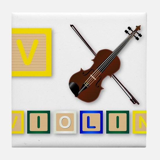 V Is For Violin Tile Coaster