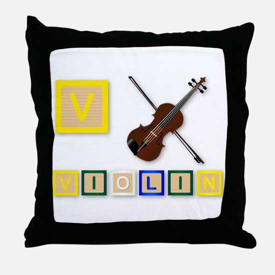 V Is For Violin Throw Pillow