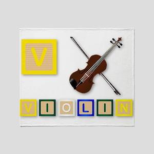 V Is For Violin Throw Blanket