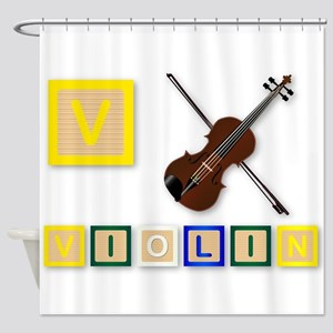 V Is For Violin Shower Curtain