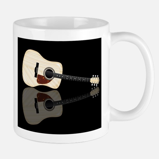 Pale Acoustic Guitar Reflection Mugs