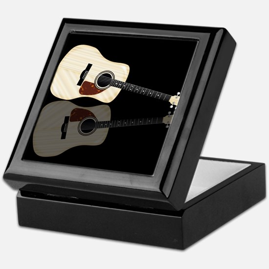 Pale Acoustic Guitar Reflection Keepsake Box