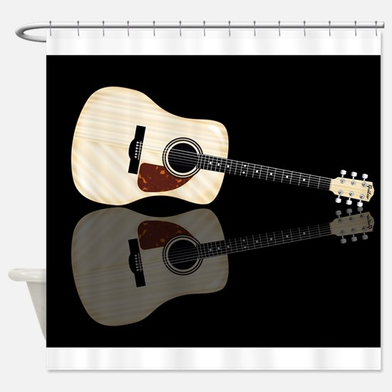Pale Acoustic Guitar Reflection Shower Curtain