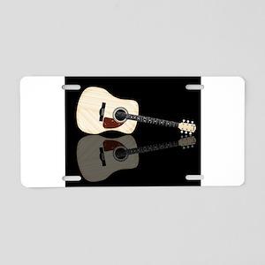 Pale Acoustic Guitar Reflec Aluminum License Plate