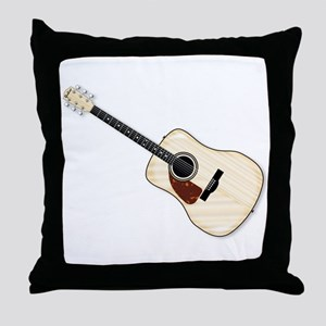 Left Handed Acoustic Guitar Throw Pillow