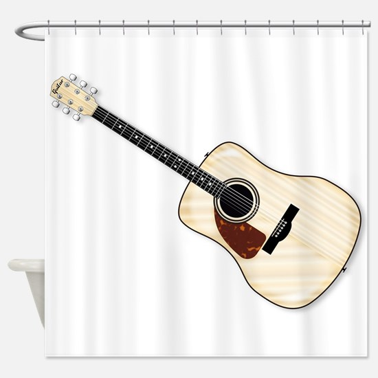 Left Handed Acoustic Guitar Shower Curtain