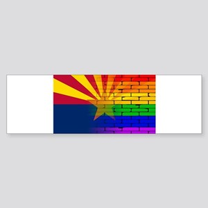 Gay Rainbow Wall Arizona Flag Bumper Sticker