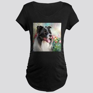 Border Collie Painting Maternity T-Shirt