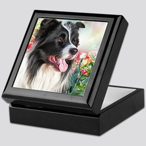 Border Collie Painting Keepsake Box