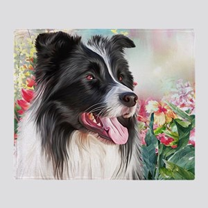 Border Collie Painting Throw Blanket