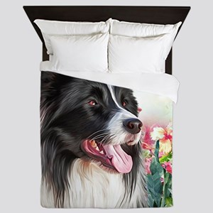 Border Collie Painting Queen Duvet