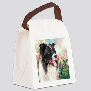 Border Collie Painting Canvas Lunch Bag
