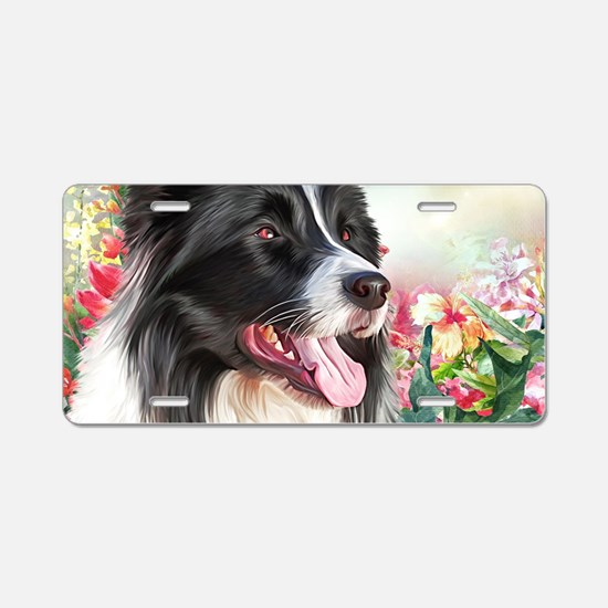 Border Collie Painting Aluminum License Plate