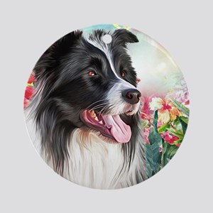 Border Collie Painting Round Ornament