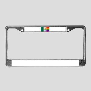 Gay Rainbow Wall Mexico Flag License Plate Frame