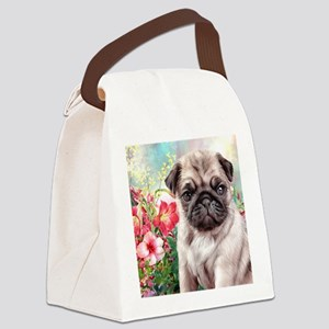 Pug Painting Canvas Lunch Bag