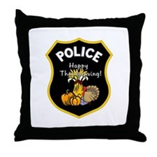 Police Thanksgiving Throw Pillow