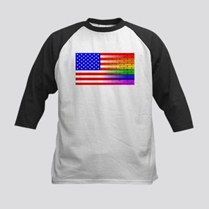 Gay Rainbow Wall American Flag Baseball Jersey